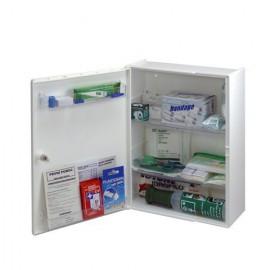 Nástenná stredná kovová lekárnička pre 30 ľudí, pre sklady, so zámkom